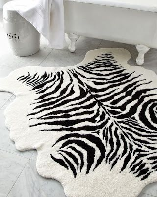 zebra-striped bath rug - Recreate This Luxurious Bathroom: Exotic and Feminine Details from Bathroom Bliss by Rotator Rod
