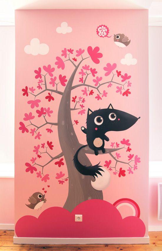 Fresque chambre enfant mkt4 illustration kawaii for Carrelage fresque