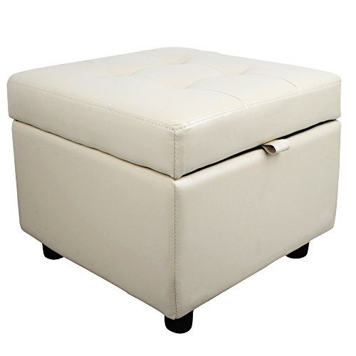 Tufted Leather Square Flip Top Storage Ottoman Cube Foot Rest Cream Want To Know More Click On Storage Cube Ottoman Cube Ottoman Storage Ottoman