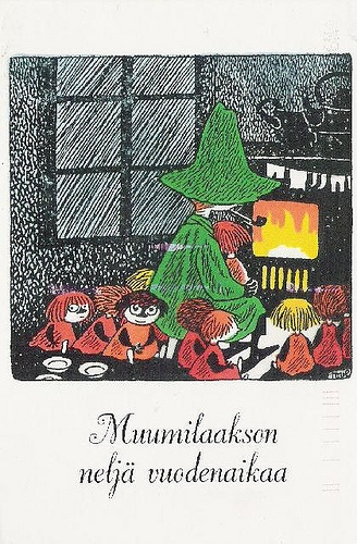 Moomin: Snufkin by the fire.
