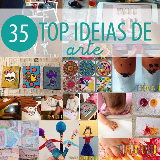 35 ideias de arte para crianças. DIY ARTE e material reciclado. Atividades de arte para crianças