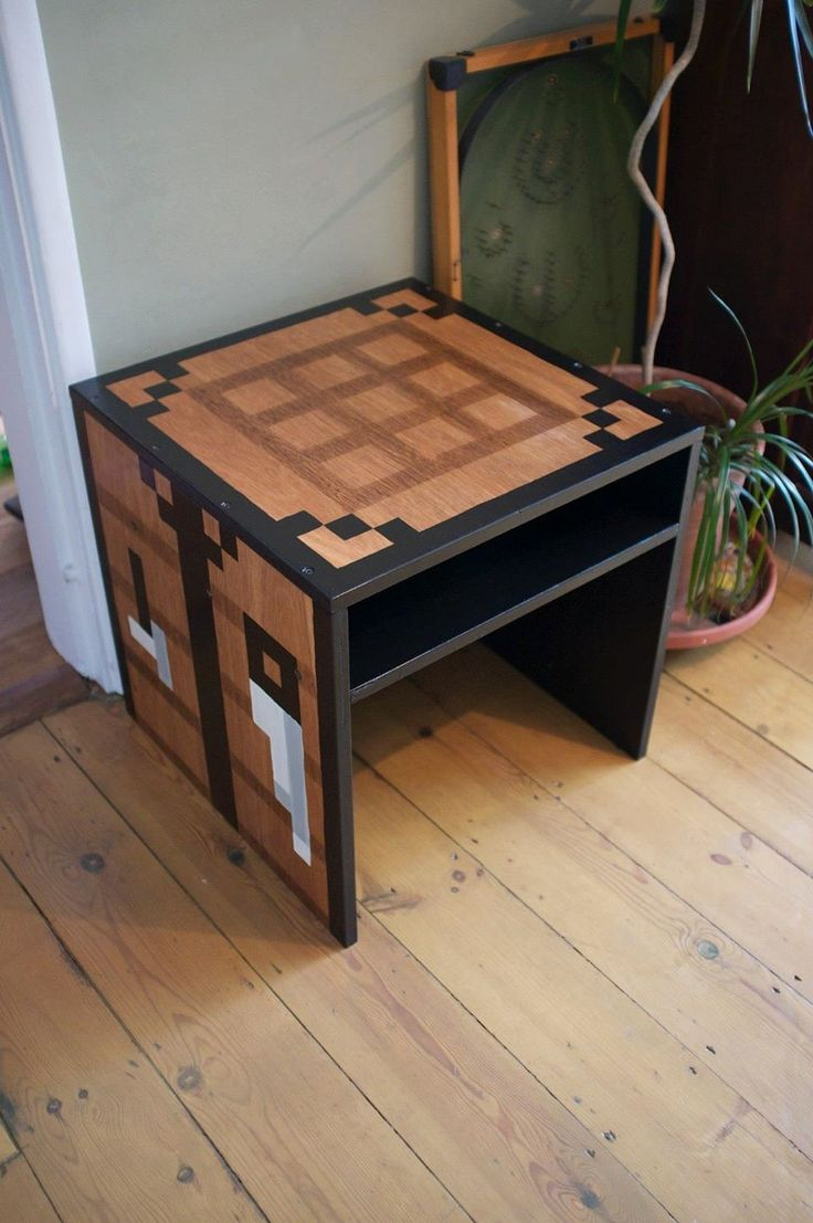 Minecraft Inspired Crafting Table. I made it for my son as a homework table/bedside table.