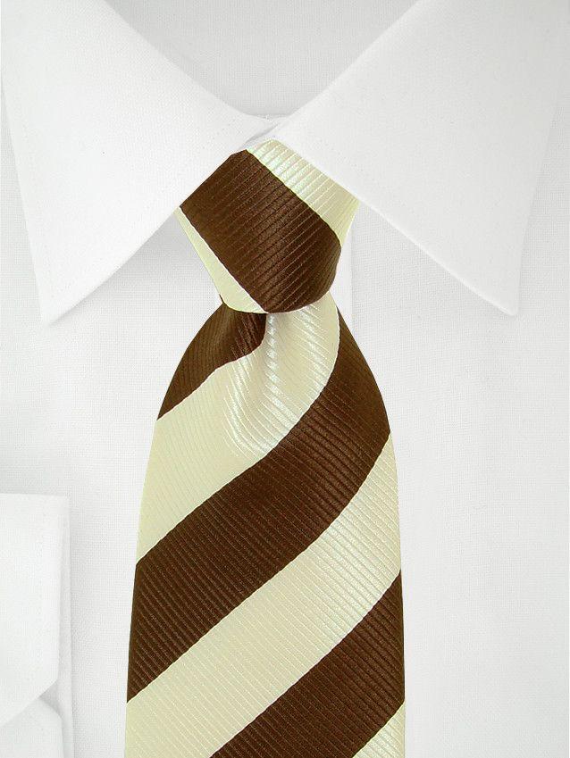 Cravate blanche à bandes marron chocolat à 7 plis