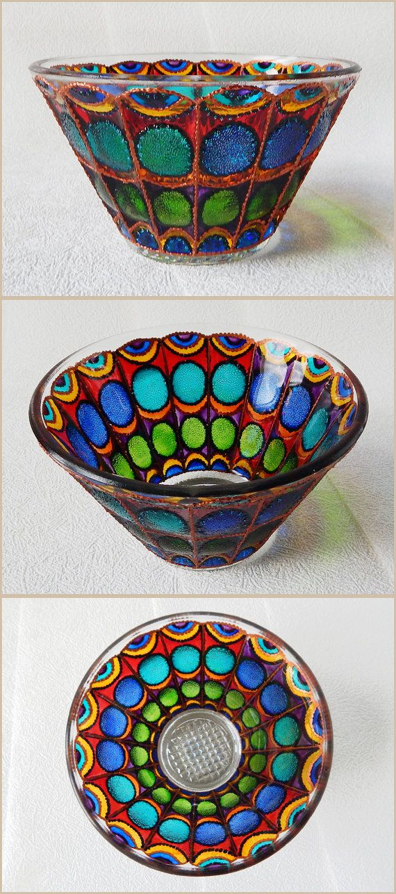 RichanaDragon ||| Butterfly wings (a - blue). Glass salad bowl with stylized butterfly wings pattern. Rainbow colors glass candle holder in fairy style. Hand painted stained glass.