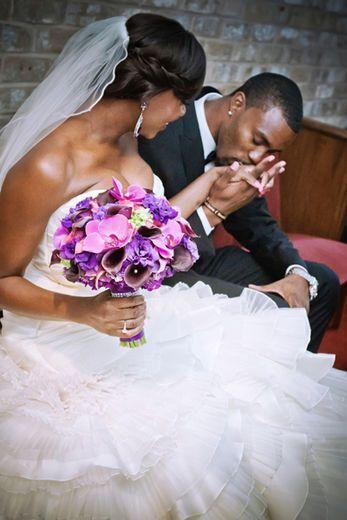 black bride; bride of colour; purple flowers