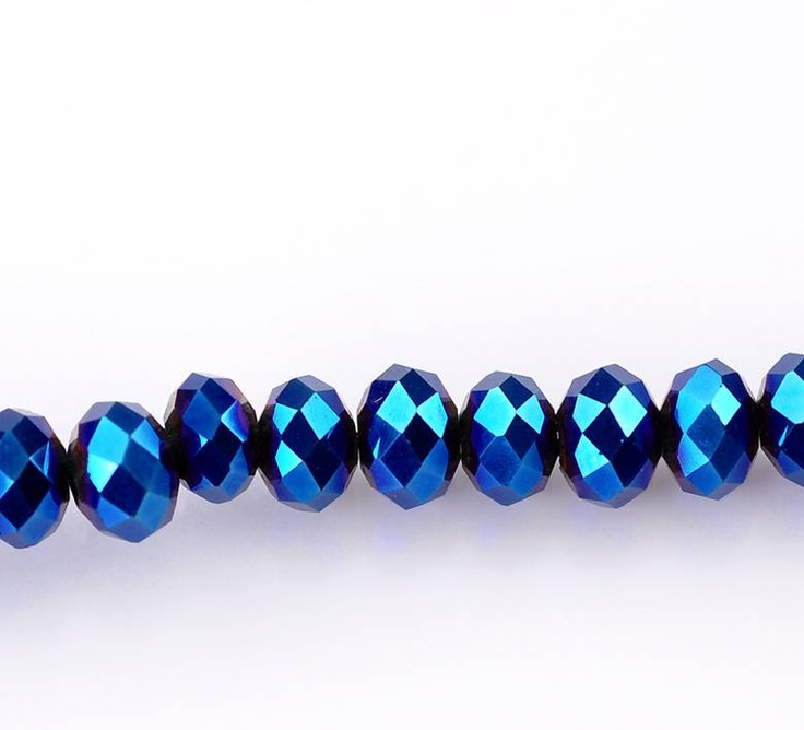 40 pieces Faceted Glass Beads Blue 4mm