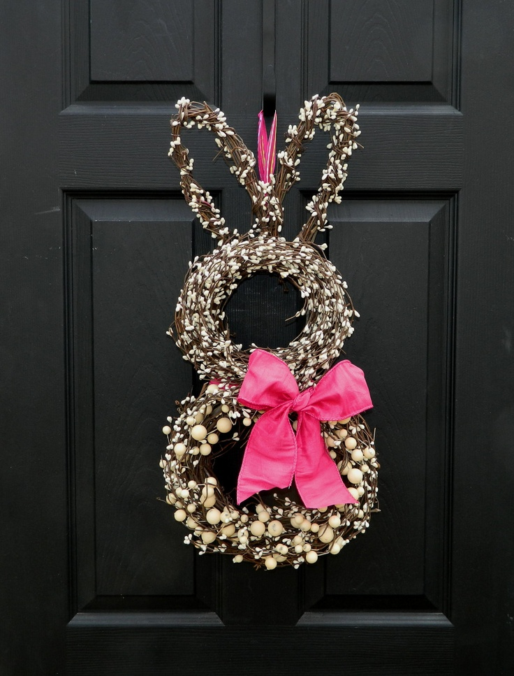 Bunny Wreath - Easter Wreath - Going to make one w/ this white flowers and eggs w/ pink bow! LOVE!