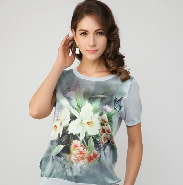 1PCS/Lot,100% Silk T-shirt, Women's t shirts,Short sleeve Tops Tee,Printed fashion design Size S/M/L/XL Multi Colors In stock US $59.90 /piece Specifics Item Type 	Tops Tops Type 	Tees Gender 	Women Decoration 	None Clothing Length 	Short Sleeve Style 	Regular Pattern Type 	Print Brand Name 	New Style 	Fashion Fabric Type 	Knitted Material 	Silk Collar 	O-Neck Color Style 	Natural Color Sleeve Length 	Short Model Number 	TS20152125  Click to Buy :http://goo.gl/t9O329