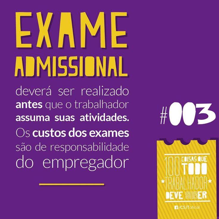 #Exameadmissional #Trabalho #Profissional #Atividades #Emprego  Fonte: Conselho Superior da Justiça do Trabalho (CSJT)