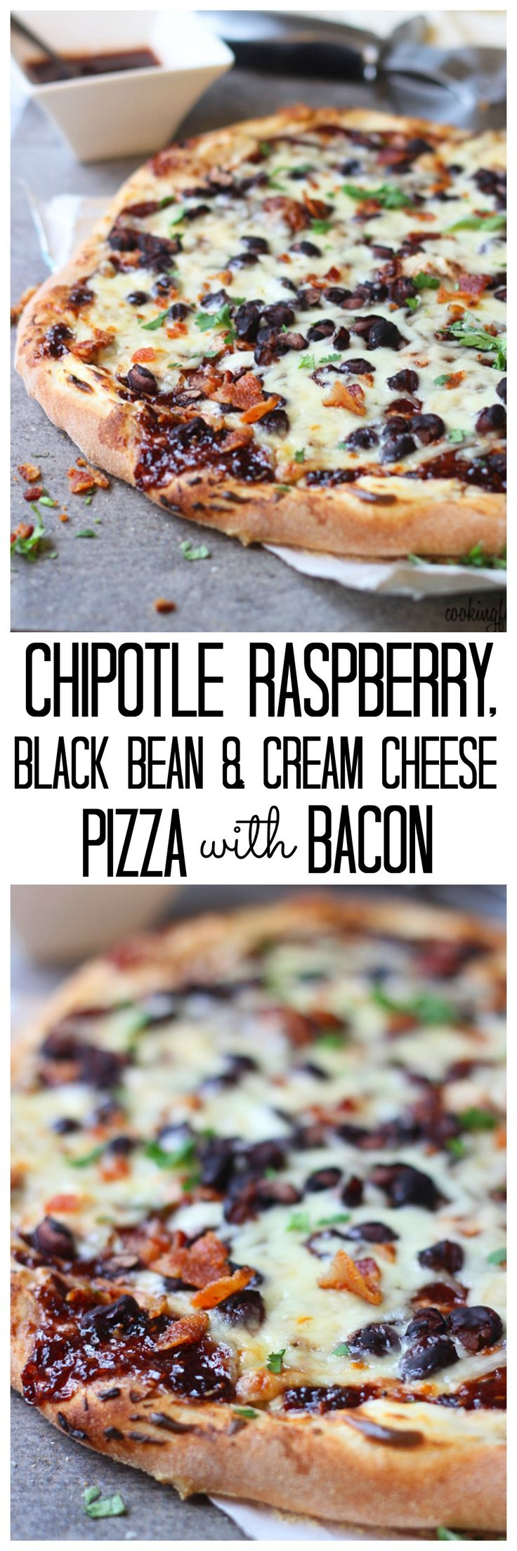 Chipotle, Black Bean and Cream Cheese Pizza with Bacon