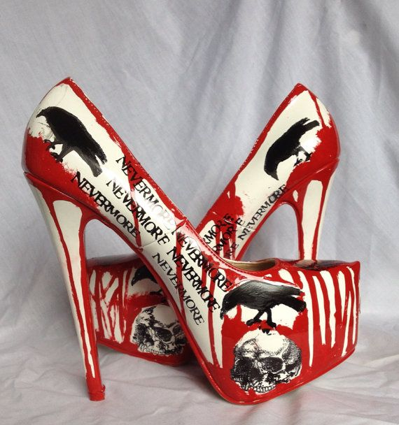 This isn't a decoration but it sure is a horror! Nevermore Raven and Skull Killer Heels US 8.5 /UK 6 /Euro 39
