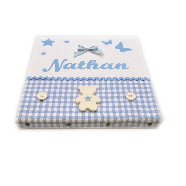 Cadre en bois et tissu 100% coton et céramique pour chambre d'enfant et bébé prénom au choix