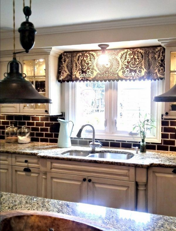 Black and white valances for windows traditional style kitchen window treatment decorations - Pinterest kitchen window treatments ...