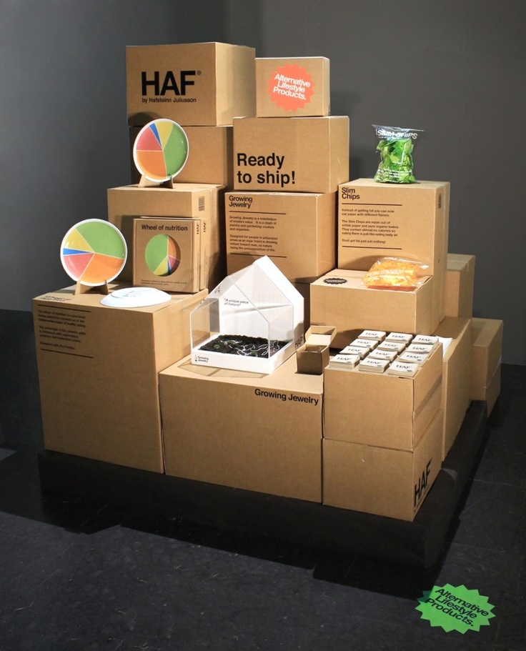 "Last week in Stockholm HAF by Hafsteinn Juliusson presented their installation ""Ready to ship"" at a off venue exhibition in the hipster area of Södermalm. For the occasion they displayed their exisiting collection that includes Growing Jewelry, Wheel of nutrition and Slim Chips."
