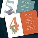 25 Personalised Dinosaur Number Invites - children's living
