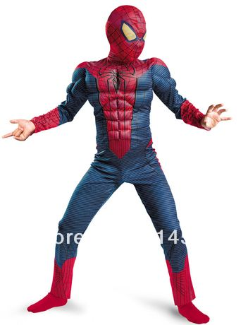 Free Shipping Hot Selling Halloween Spiderman Muscle Costumes for Kids Children boy Christmas super hero suits clothes clothing US $38.99 - 39.99