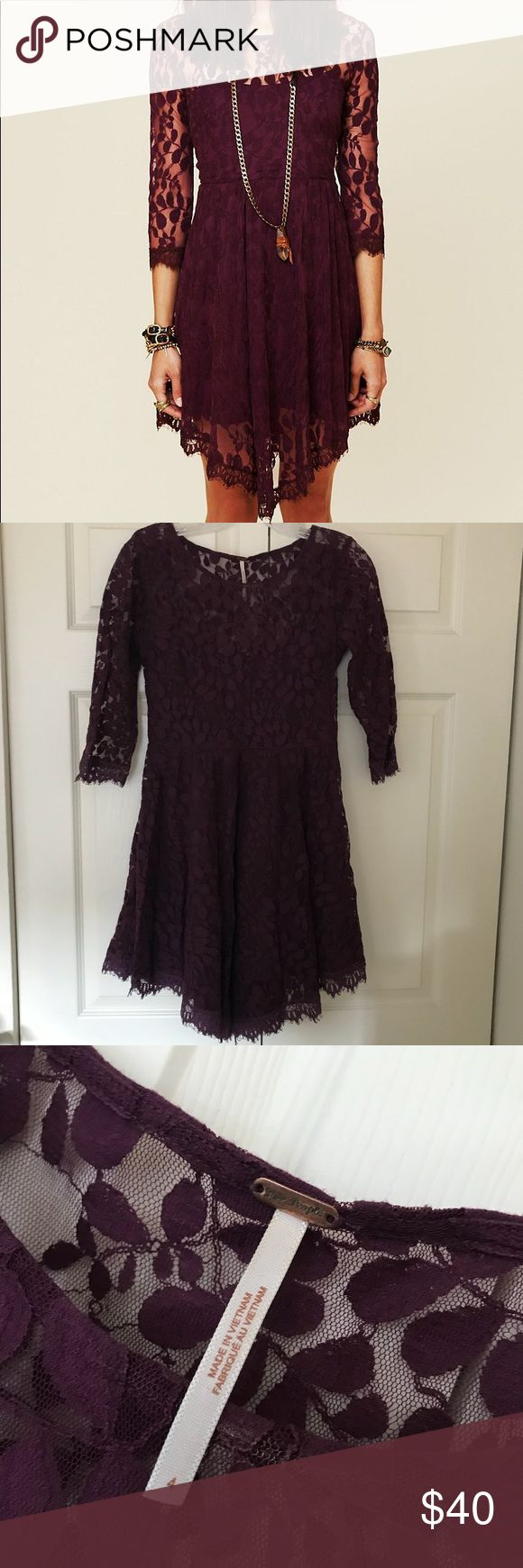 Free People Floral Mesh Lace Dress in Purple mini dress with attached lining • approx 35 inches long • in like new condition, worn a handful of times • love the dress, only selling because it's too small on me • fit & flare style • will consider reasonable offers Free People Dresses Mini