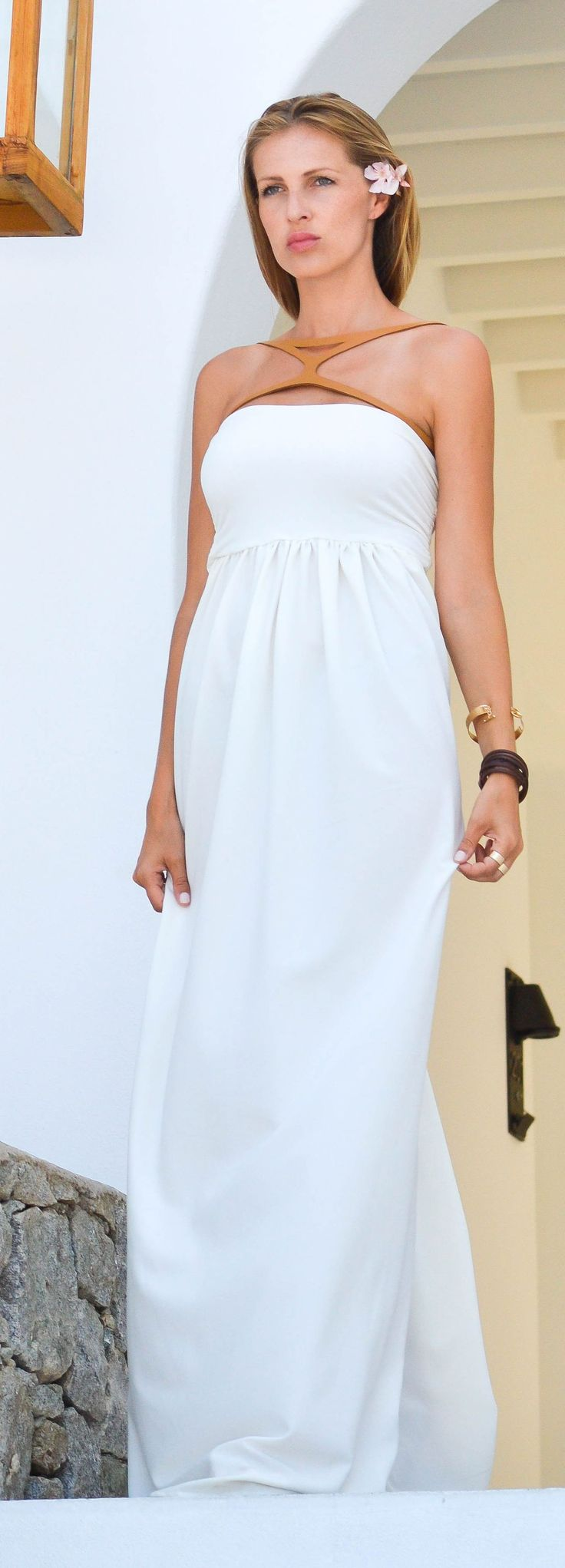 White And Camel Maxi Dress #Fashionistas
