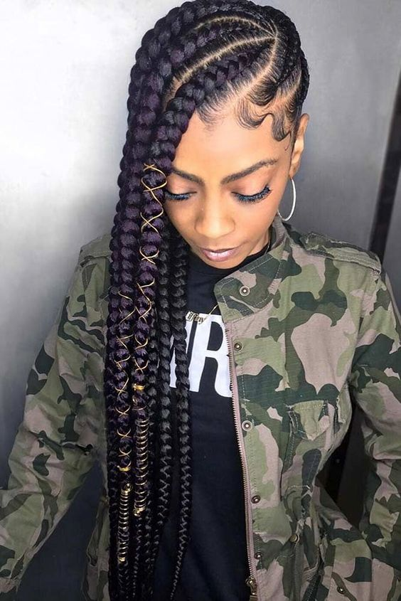 chunky lemonade braids with strings | 35 Lemonade Braids Styles for Elegant Protective Styling #naturalhairstyles