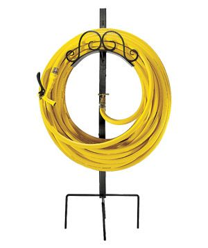 """Panacea Forged Scroll Hose Hanger and Stand—an option with a spigot—is perfect, letting you use a second hose as an """"extension cord"""" to bring water where you need it. Holds 150 feet of standard 5/8-inch hose."""