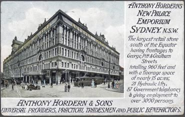 Postcard, 'Anthony Hordern & Sons New Palace Emporium', paper, Sydney, Australia, 1909