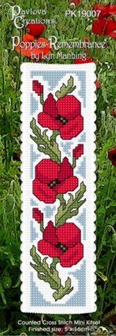 Cross-stitch bookmark - Poppies - Remembrance – NZ Fabrics & Yarn