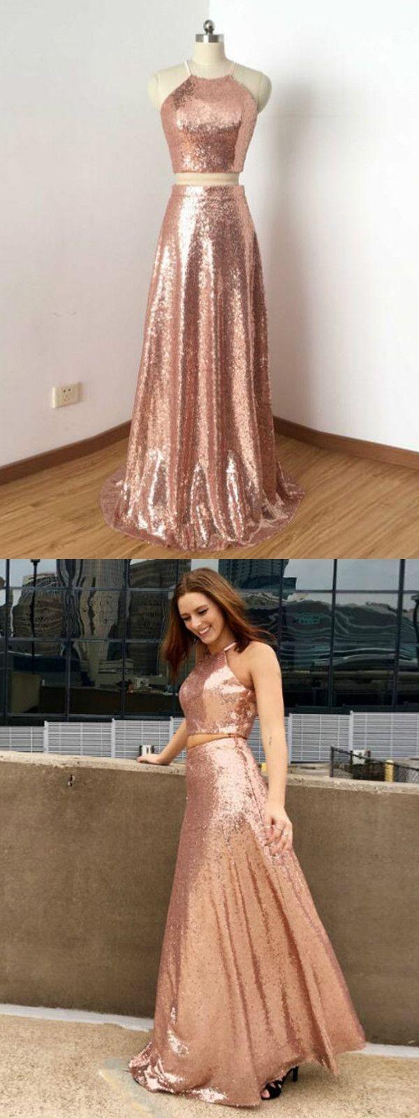 2018 Two Piece Prom Dress Lace Pink Cheap Long Prom Dress #VB2074