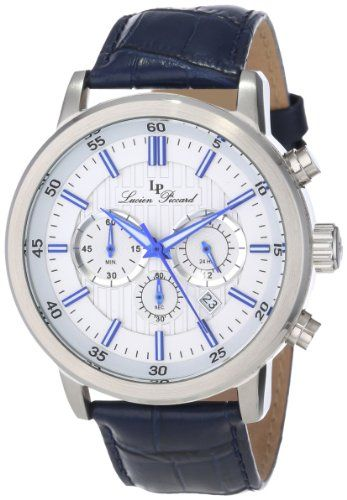 Lucien Piccard Men's 12011-023S-BL Monte Viso Chronograph White Textured Dial Dark Blue Leather Watch Lucien Piccard,http://www.amazon.com/dp/B00CFG33WE/ref=cm_sw_r_pi_dp_I-Eltb1FRZBJBKGT