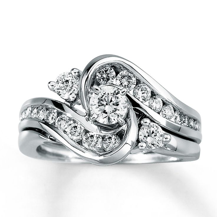 Wedding Rings Kay: Diamond Bridal Set 1 Ct Tw Round-Cut 14K White Gold