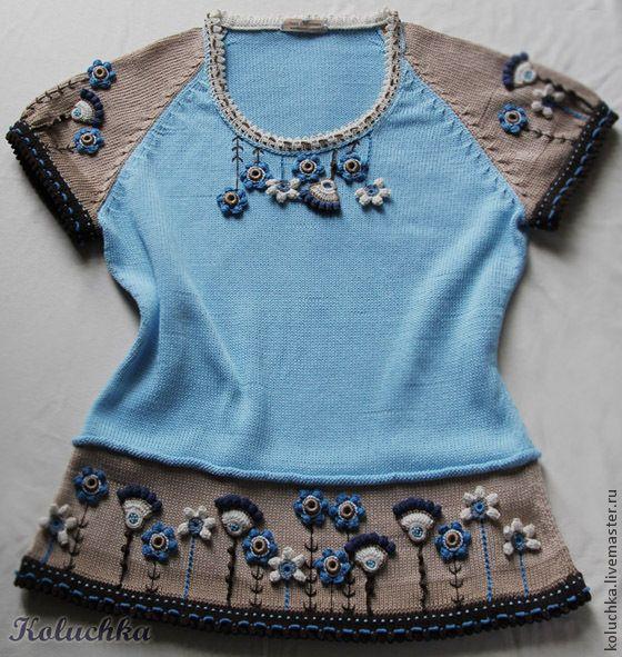 Купить Лютики-цветочки...Кофточка с коротким рукавом. - голубой, цветочный, летняя одежда, Трикотажная кофта