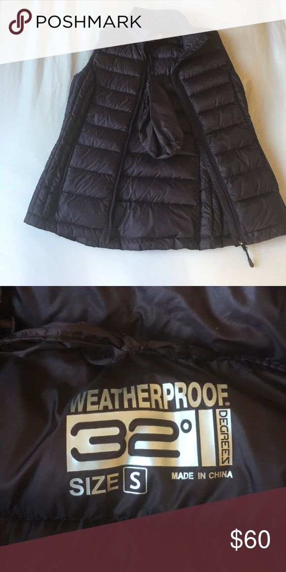 Weatherproof 32 degrees down purple vest Never been worn, dark purple down vest. Super comfortable, lightweight, and packs up easily into small pouch. Weatherproof Jackets & Coats Vests