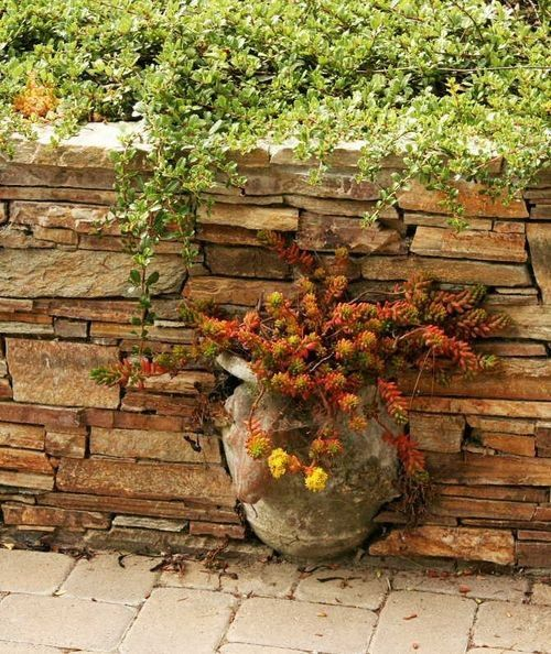 I love this idea... put a broken urn or flower pot into a brick/stone wall.  Beautiful!
