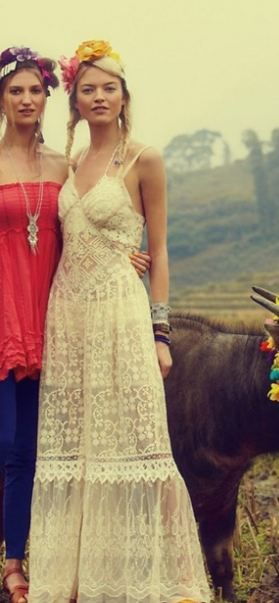 Hippie chic white lace maxi dress~ Gorgeous