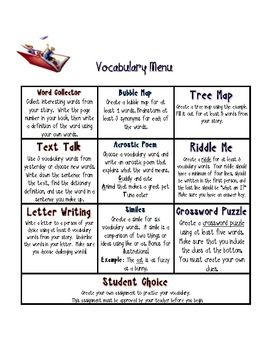 FREE Writing and Vocabulary Novel or Book Response Choice Board. Two different choice boards to provide differentiated options for your students to show their learning and thinking. One choice board has writing response prompts to respond to novels and the other has vocabulary responses. Enjoy this freebie!