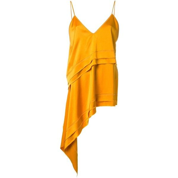Manning Cartell asymmetric cami top ($279) ❤ liked on Polyvore featuring tops, camisole tank, orange cami, manning cartell, rayon tops and camisole tank top