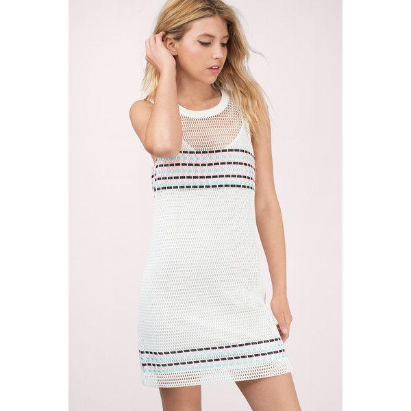 Tobi Melanie Mesh T-Shirt Dress (27 AUD) ❤ liked on Polyvore featuring dresses, white, white dress, mesh dress, mesh t shirt dress, white sleeve dress and tee shirt dress