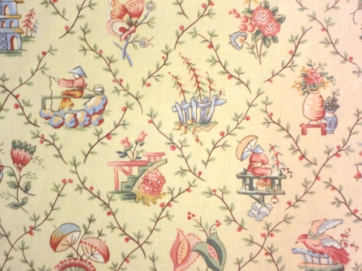 Concord Fabrics Kina Yellow Asian Toile Pagoda Cotton