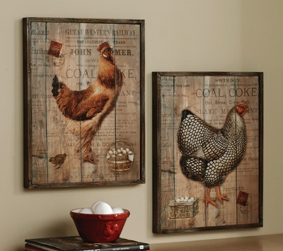 NEW-SET-OF-2-COUNTRY-ROOSTER-WOODEN-WALL-PICTURES-PRINTS-ART-KITCHEN-DECOR