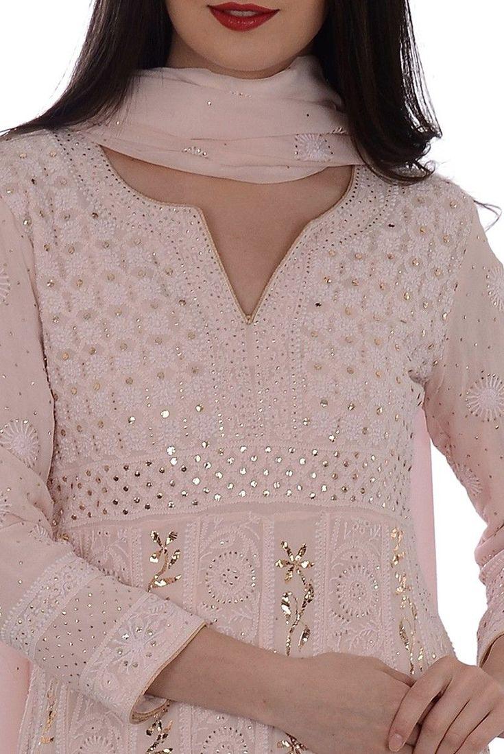 Nude Pink Chikankari With Kamdaani Anarkali Pure Georgette Suit