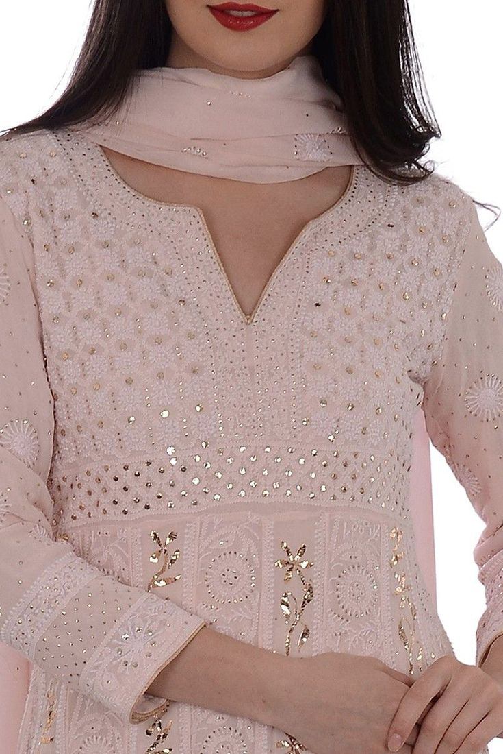 Nude Pink Chikankari With Kamdaani Anarkali Pure Georgette Suit