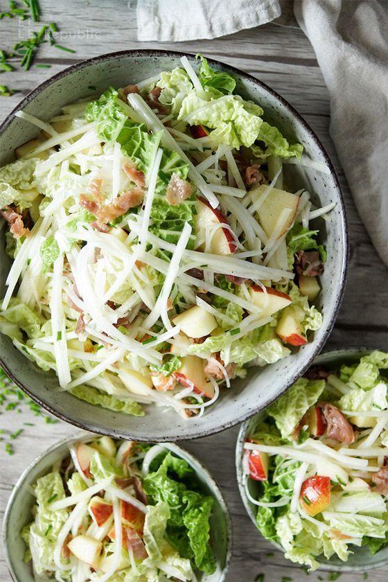 Kohlrabi Apfel Salat mit Honig-Dijon-Senf-Dressing, Parmaschinken einfaches, gesundes Rezept (healthy rezepte Elle Republic)