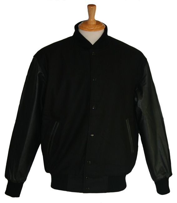 Black wool with Black leather sleeves - in stock and available for immediate delivery through our Facebook store  https://www.facebook.com/TeamVarsityJackets