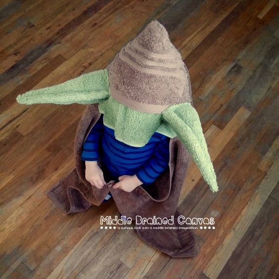 Yoda Inspired Hooded Bath Towel by MiddleBrainedCanvas on Etsy