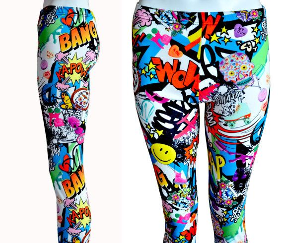 Professionally over lock stitched super cute & vibrant comic book inspired leggings! Grab these whilst you can limited available! Size Guide: • S/M
