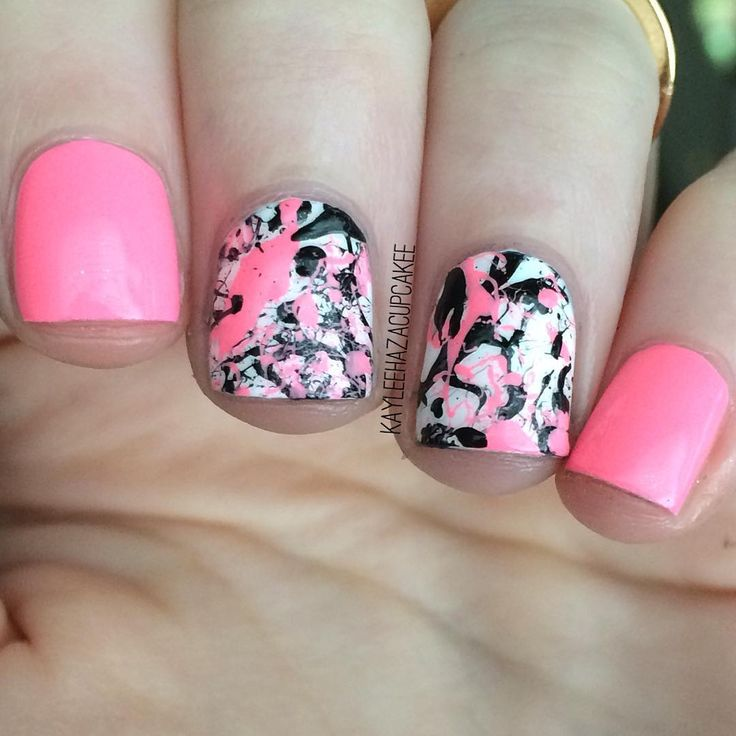 Neon Pink and Black Paint Splatter Nails