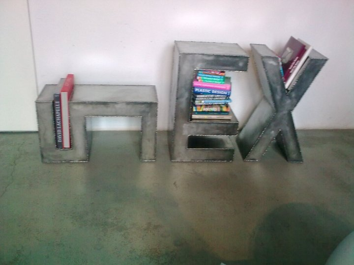metal letters bookstand