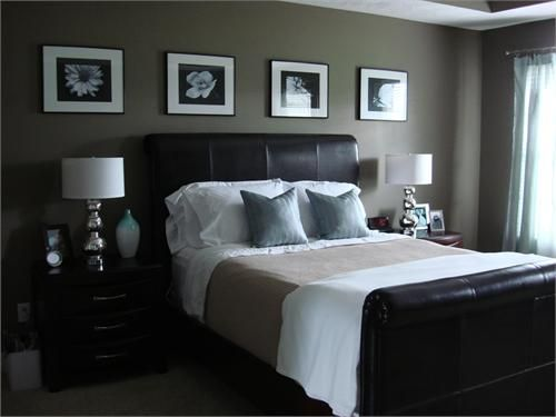 bedrooms - Brown headboard brown master bedroom  Dark Headboard, I love the crisp linens. The two side tables are staged beautifully.  I like