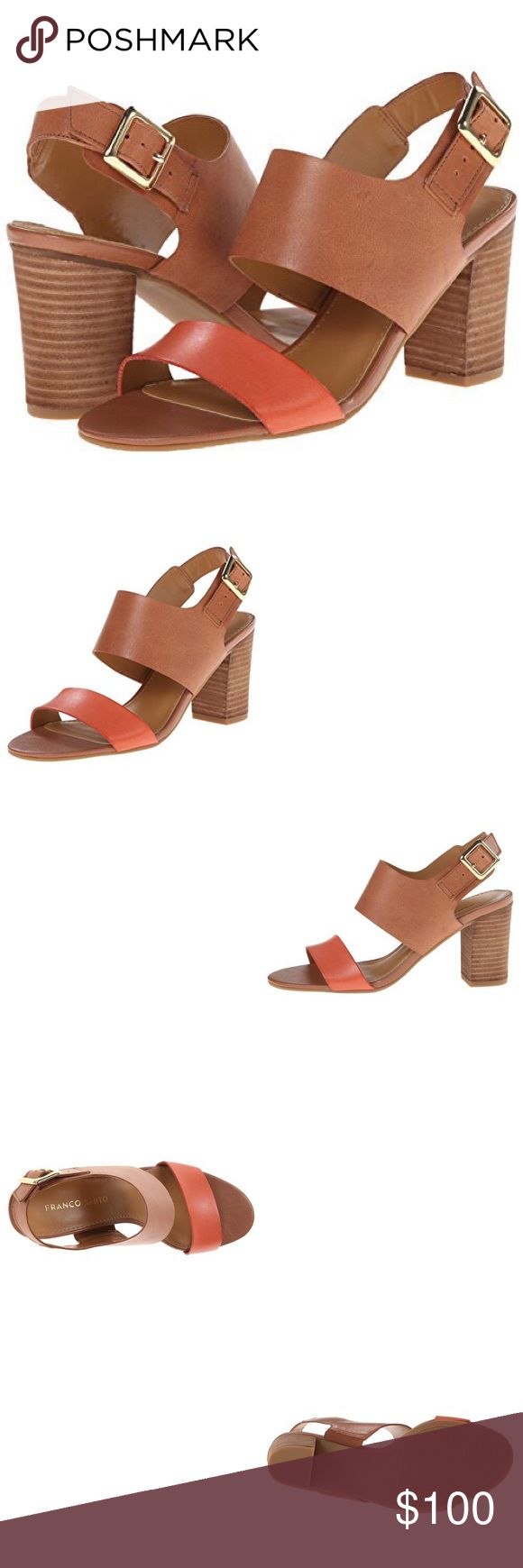 ✨Franco Sarto Women's Gothic Dress Sandals✨ ✨A trend-setting colour block design offers a modern feel to this pair of chunky sandals. More than the name of a footwear brand, Franco Sarto the man is the driving inspiration and passion behind the actual designs. By the age of 14, Sarto was working in a shoe factory where his job was to hand-last shoes with a hammer and nails. It is Sarto's start as a cobbler, and his passion. Brown with orange color. Adjustable buckle strap. Super cute and in…