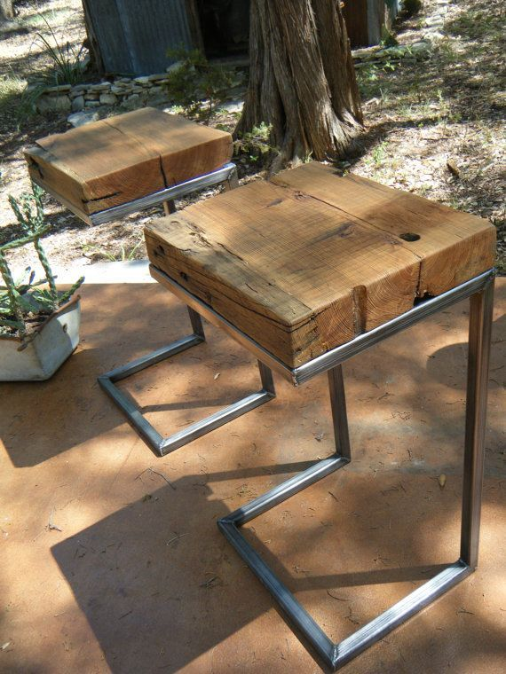 ODERN/RUSTIC Side Table 100 Years Old LongLeaf by VaqueroDesigns ( can make out of black pipe)
