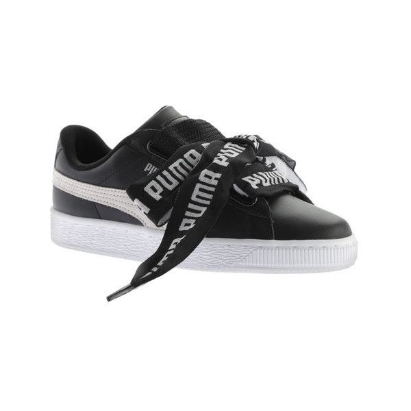 Women's PUMA Basket Heart DE Sneaker (665 NOK) ❤ liked on Polyvore featuring shoes, sneakers, casual, lace up sneakers, puma shoes, black white sneakers, puma trainers and retro sneakers